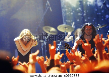 """ST. PETERSBURG, RUSSIA - SEPTEMBER 9: Group """"EPICA"""" in concert on September 9, 2010 in St Petersburg, Russia"""