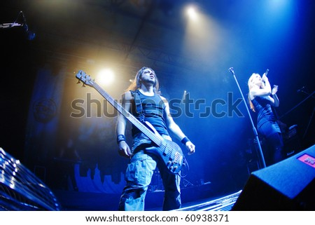 "ST. PETERSBURG, RUSSIA - SEPTEMBER 9: Group ""EPICA"" in concert on September 9, 2010 in St Petersburg, Russia"
