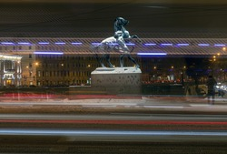 St. Petersburg. Snowfall. Equestrian sculpture on Anichkov Bridge over Fontanka River. Made in the middle of the 19th century. Open space. Common property