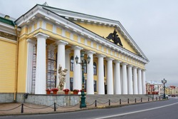 St. Petersburg, the entrance to the ancient building of the Mountain Cadet Corps on the embankment of Lieutenant Schmidt