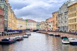 St Petersburg, view over Moyka river from Nevsky prospekt