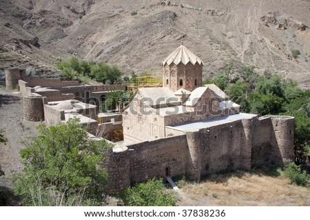St. Stephanos Church in Iran near Jolfa. Old and beauty. - stock photo