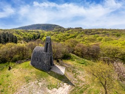 St. Stephen king basalt stone chapel in Hungary near by lake Balaton in Badacsonytomyaj village. This amazing building is on the Badacsony amountain.
