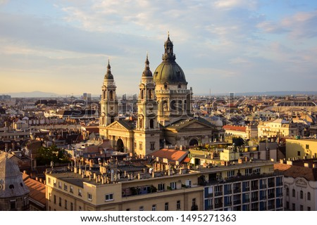 St. Stephen's Basilica in Budapest during sunset Stock photo ©