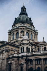 st. stephen's basilica. Nice detail of St. Stephen's main vault on a cloudy day. Basilica of St. Stephen. Budapest.Hungary.