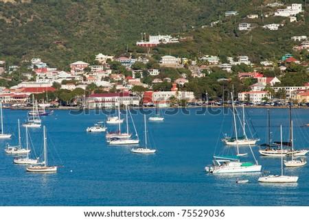 St. Thomas Harbor, Caribbean - stock photo