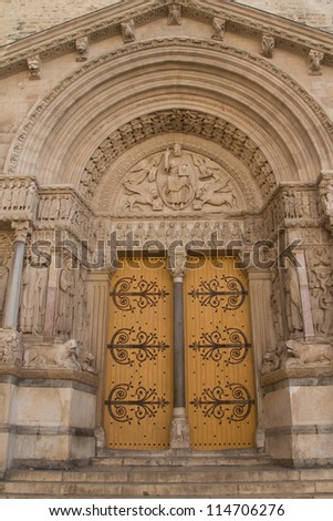 St Trophime Portal Detail (Arles, Provence, France). Masterpiece of the early Middle Ages. Vertically.