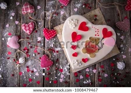 St. Valentine's Day, Mother's Day, Birthday Cake. A festive dessert in the shape of a heart.