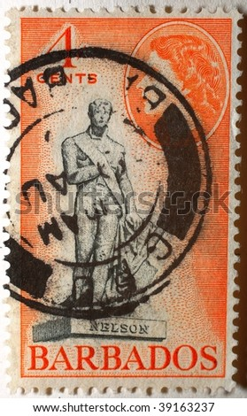 ST VINCENT AND THE GRENADINES - CIRCA 1908: A stamp printed in St Vincent and the Grenandines shows image of Horatio Nelson, series, circa 1908 - stock photo