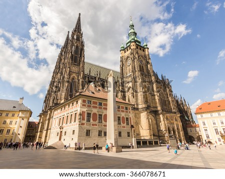 St. Vitus Cathedral at Prague Castle in Prague under Clear Blue Sky Sunny Summer. Full of Tourist people Stock photo ©