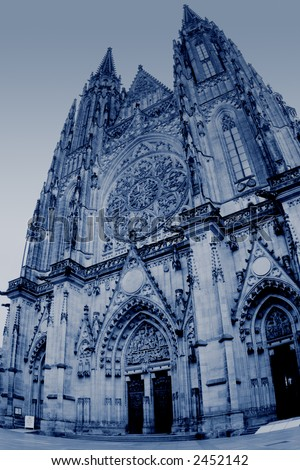 St. Vitus cathedral in Prague, Czech Republic, toned