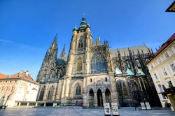 St. Vitus Cathedral inside of the Prague Castle complex built in the 9th century in Prague, Czech Republic.