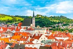 St Vitus church in the middle of historical city centre. Cesky Krumlov, Southern Bohemia, Czech Republic.