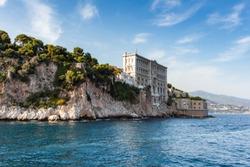 Sta view of Oceanographic Institute museum in Principality of Monaco.