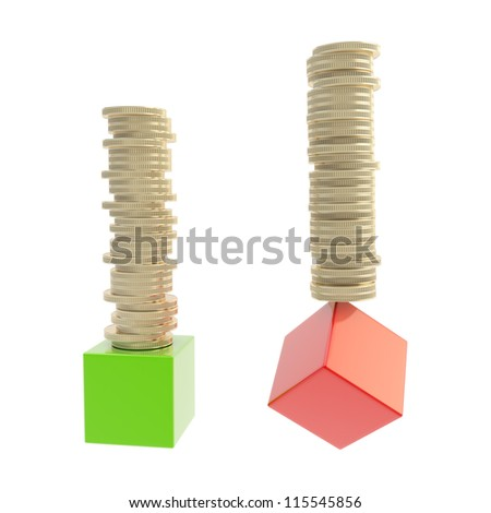 Stability versus risk concept: stack of golden glossy coins over red and green cubes isolated on white background - stock photo