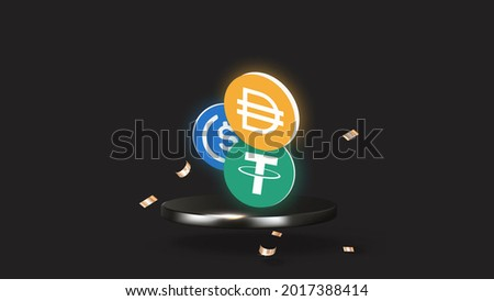 Stablecoins on stage; USDC, DAI and USDT (Tether) 3D illustration