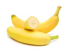 Stack banana against white background