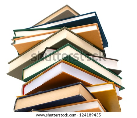 Stack books, on education bookstore