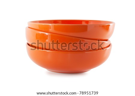 stack ceramic bowl isolated on white background