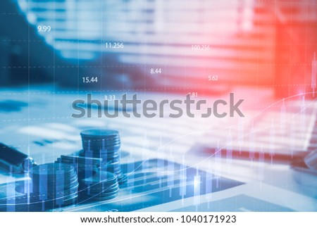 Stack coin money with report finance and banking with profit graph of stock market trade indicator financial.Double exposure style