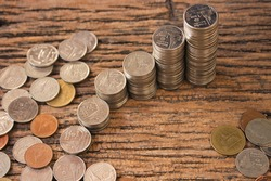 stack coins ,thai coins make difference step to step for save money .