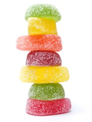 Stack made by jelly candies isolated on a white background.