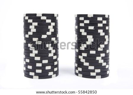 Stack of a black poker chips isolated on white background