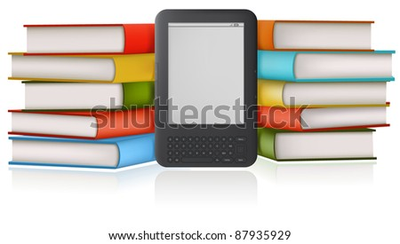 Stack of a books and book-reader.
