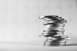 stack of a coin, black and white style, finance concept.