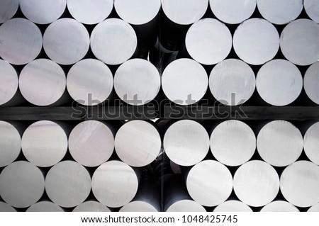 Stack of aluminium bar in aluminum profiles factory