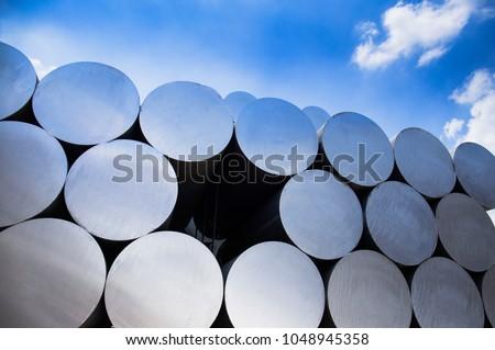 Stack of aluminium billets #1048945358