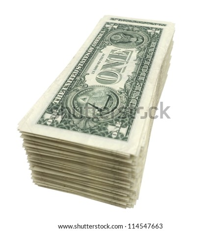 stack of American money isolated on white background (version with depth of field)