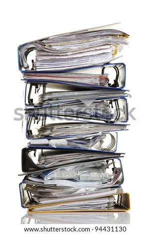 Stack of archive folders  ( ring binders ) over white background