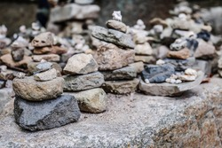 stack of balance stone in forest,selective focus.it a believe for blessing and pray for make a wish,if can stack high we will get desire.bulkuksa temple,south korea