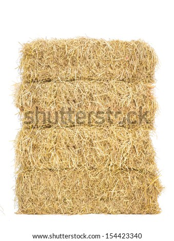stack of bale hay straw isolate on white background #154423340