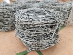 stack of  barbwire for construction