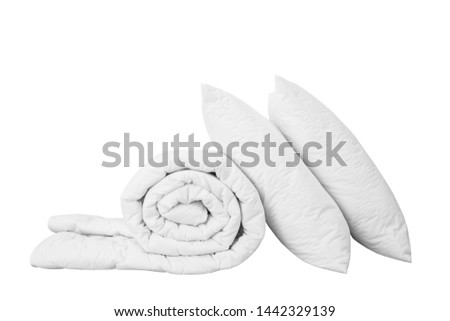 Stack of beddings on the white background, two white pillows on the rolled duvet isolated, bedding objects isolated against white background, bedding items catalog illustration, bedding mockup