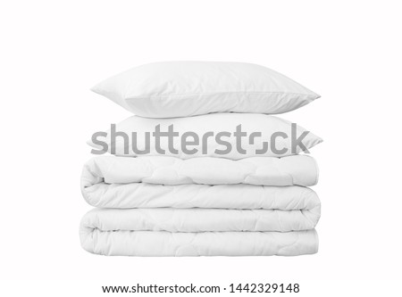 Stack of beddings on the white background, two white pillows on the stacked duvet isolated, bedding objects isolated against white background, bedding items catalog illustration, bedding mockup