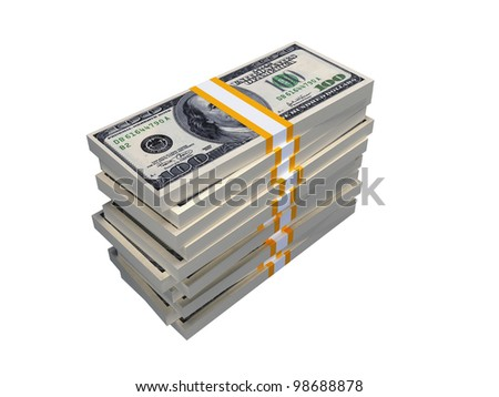 Stack of $100 bills, isolated over white