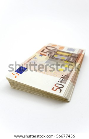 Stack of 50â?¬ bills on white background