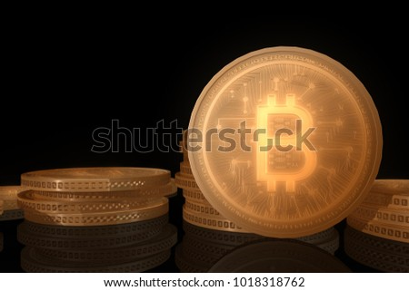 Stack of bitcoin with dark background. #1018318762