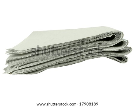 Stack of blank tabloids isolated over white background