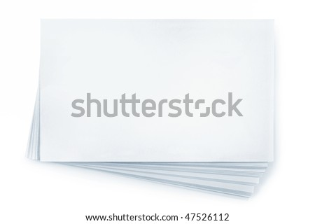 Stack of blank white business cards, isolated on white.  Plenty of copy-space.