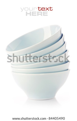 Stack of blue bowls over white (with sample text)