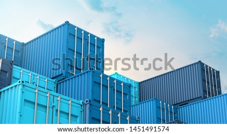 Stack of blue containers box, Cargo freight ship for import export logistics 3D rendering