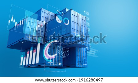 Stack of blue containers box with digital graph chart, import export business, 3d rendering