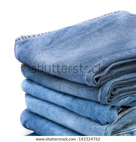 Stack of blue jean pants