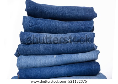 Stack of blue jeans  #521182375