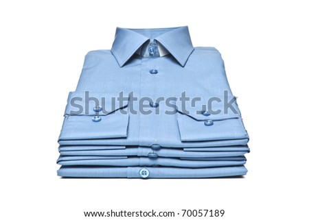 Stack of blue man's shirt