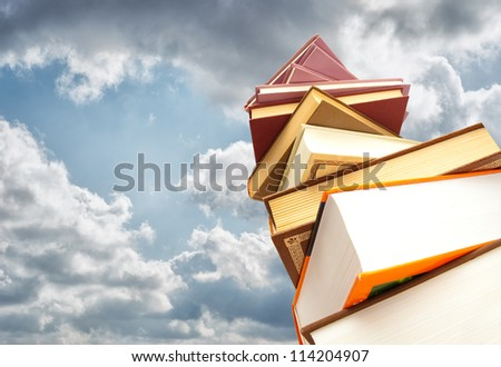 Stack Of Books Against Blue Sky